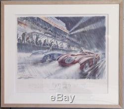 Geo Ham 24 Heures Du Mans 1954 Lithographie 55x46cm Encadrée Signée