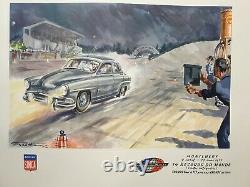 Geo Ham Affiche Ancienne Simca Montlhery 1957 Record Monde 100000km