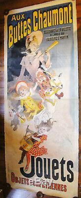 Grande AFFICHE double Jules CHERET AUX BUTTES CHAUMONT 1888 / 260 x 100 cms
