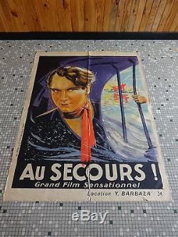 Grande Affiche Ancienne Originale de Cinema AU SECOURS! Sig Louis Rolley 1925