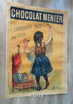 Grande Affiche entoilée signée FIRMIN BOUISSET 1893 Chocolat MENIER 130x90cm