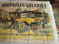 Grande affiche ancienne Nouvelles Galeries Valence début XXème