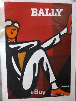 Grande affiche ancienne VILLEMOT pour BALLY 120 x170 cm