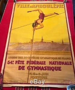 Grande affiche ancienne théme sportif de 1933, belle taille 120x80 cm