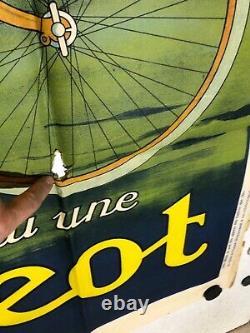 Grande et Rare Affiche ancienne Cycle et automobile Peugeot années 1920