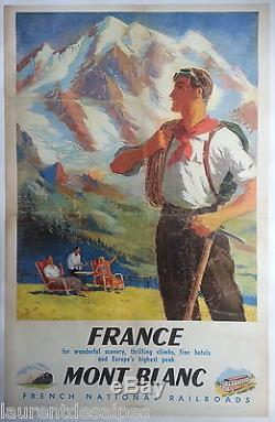 Guide alpinisme Chamonix Mont Blanc Affiche ancienne SNCF/original poster 1948