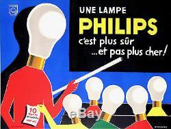 Guy Georget Affiche Ancienne Pour Les Lampes Philips CI 1960