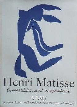 HENRI MATISSE EXPOSITION GRAND PALAIS 1970 Affiche originale entoilée