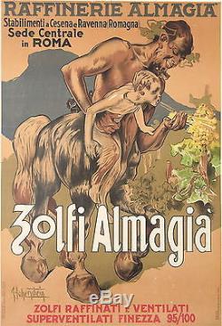 HOHENSTEIN AFFICHE ANCIENNE ITALIENNE ZOLFI ALMAGIA VINTAGE WINE POSTER Ci 1950