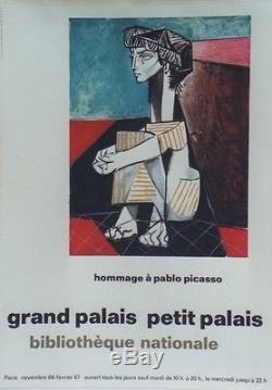 HOMMAGE à Pablo PICASSO PARIS 1967 Affiche originale entoilée