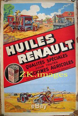 HUILES RENAULT Machine Agricole Tracteur Ferme 1930s