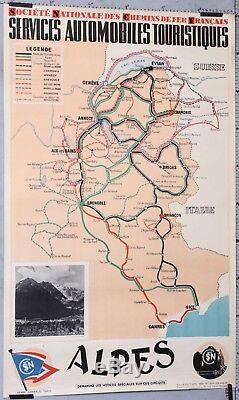 Henri Dannaud 1939 Affiche Ancienne Sncf Alpes