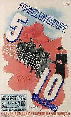 Hugon Affiche Ancienne Chemins De Fer Francais Billet Tarif Reduit Train 1936