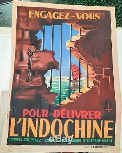 Indochine Engagez vous Affiche ancienne/original poster Pointeau 1945