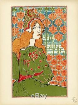 JANE Litho originale entoilée L'ESTAMPE MODERNE Louis RHEAD 1897 34x44cm