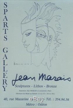 JEAN MARAIS HISTOIRES DE MA VIE / EXPO 1975 Affiche originale entoilée