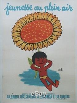 JEUNESSE AU PLEIN AIR Affiche originale entoilée 1951 Hervé MORVAN 62x84cm