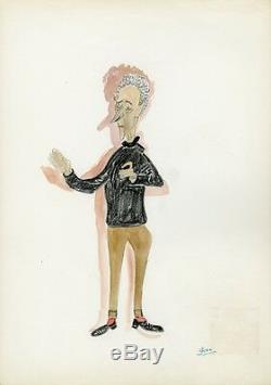 Jean COCTEAU Caricature originale de J. GEN (Dessin au crayon aquarellé)