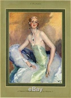 Jean-Gabriel DOMERGUE PORTRAIT DE MADAME O Planche originale entoilée 1928