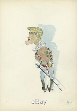 Jean MARAIS Caricature originale de J. GEN (Dessin au crayon aquarellé)