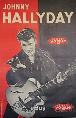 Johnny HALLYDAY / DISQUES VOGUEAffiche originale entoilée André NISAK 82x124cm