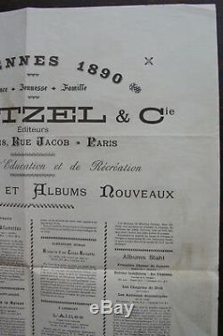 Jules Verne Affiche Hetzel Etrennes 1890 Au Globe Terrestre Amand Lith. Roux