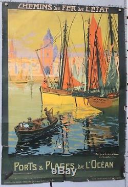 Julien Lacaze 1913 Affiche Ancienne La Rochelle Ports Et Plages De L'ocean