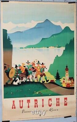 KOSEL Affiche ancienne AUTRICHE VACANCES DE VOS REVES circa 1950