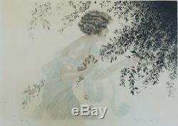 LA CUEILLETTE Eau-forte couleurs encadrée et signée par Maurice MILLIERE 1925
