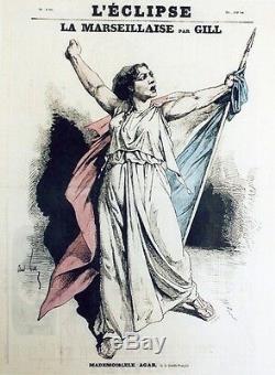 LA MARSEILLAISE par André GILL Caricature originale entoilée 1870 (Mlle AGAR)
