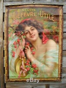 LEFEVRE UTILE Biscuits LU Nantes Affiche ancienne signée Enjolras 1909