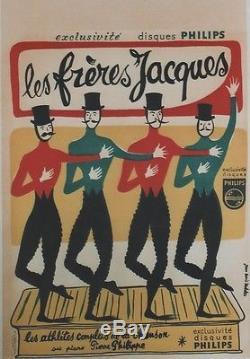 LES FRERES JACQUES Affiche originale entoilée Litho Jean Denis MALCLES 43x63cm