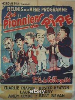 LES PIONNIERS DU RIRE Affiche orig. Ent. CHARLOT, LAUREL & HARDY, Buster KEATON