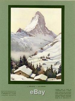 LE CERVIN (Suisse) par Jean DOLLFUS Gravure originale entoilée HACHETTE 1936