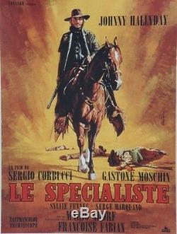 LE SPECIALISTE Affiche originale entoilée (Sergio CORBUCCI / Johnny HALLYDAY)
