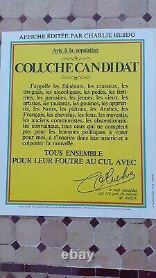 LOT 4 AFFICHES ORIGINALES Présidentielle Coluche 1981 NEUF