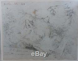 LOUP, LOUVE et LOUVETEAU Dessin à la plume de Jean-Baptiste HUET 1788 11x09cm