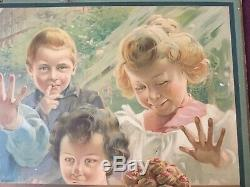 LU LEFEVRE UTILE Les Enfants Derrière la Vitrine Panonceau Lithographié 1905
