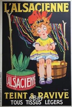 L'ALSACIENNE teint et ravive Affiche originale entoilée Litho Charles ROUX