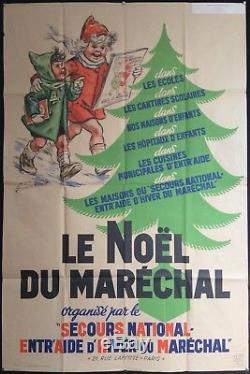 Le Noël du Maréchal Affiche illustrée daprès Germaine Bouret / 1941 / Pétain