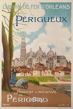 Leon Affiche Ancienne Chemins De Fer D'orleans Perigueux Perigord 1924