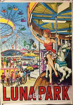 Lunapark Affiche originale Fête foraine pin-up manège cheval de bois Italie 1950