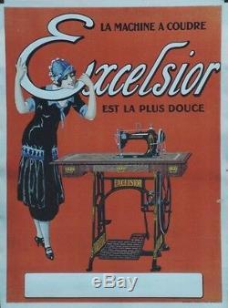 MACHINE à COUDRE L'EXCELSIOR Affiche originale entoilée Litho 1905 51x68cm