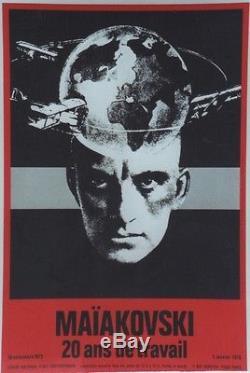 MAÏAKOVSKI 20 ans de travail / EXPO 1975 Affiche originale entoilée 44x65cm