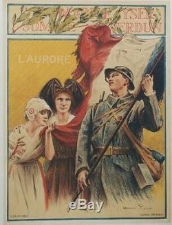 MARNE YSER SOMME VERDUN L'AURORE Affiche originale entoilée Henri ROYER