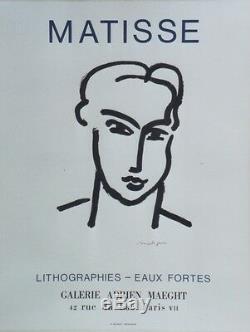 MATISSE LITHOGRAPHIES EAUX FORTES MAEGHT 1964 Affiche originale entoilée