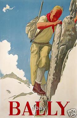 MULLY AFFICHE ANCIENNE CHAUSSURES ALPINISME BALLY imp Circa 1935 SUISSE