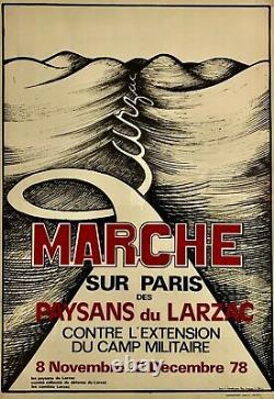 Marche des paysans du Larzac sur Paris, AFFICHE ENTOILÉE 1978 Gardarem lo Larzac