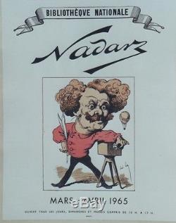 NADAR / EXPO BIBLIOTHEQUE NATIONALE 1965 Affiche originale entoilée André GILL