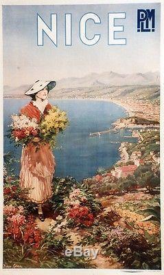 NICE / P. L. M. Affiche originale entoilée litho Pierre COMBA 1910 65x103cm
